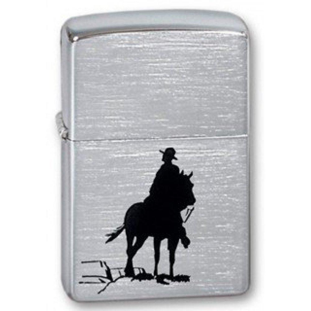 Зажигалка ZIPPO Bronco Cowboy, с покрытием Brushed Chrome, латунь/сталь, серебристая, 36x12x56 мм 200 Broncо
