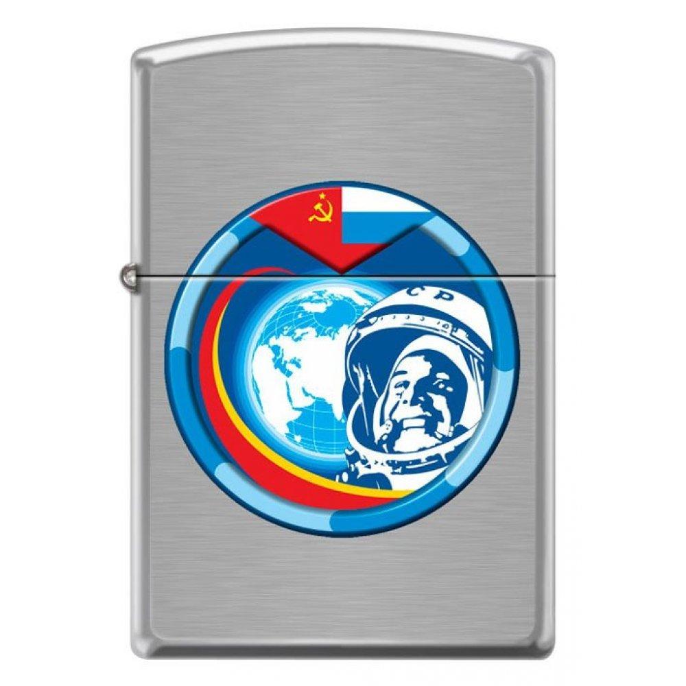 Зажигалка ZIPPO Гагарин с покрытием Brushed Chrome, латунь/сталь, серебристая, матовая, 36x12x56 мм 200 COSMONAUT