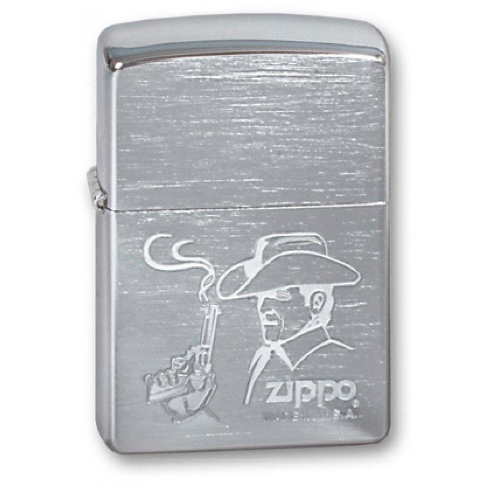 Зажигалка ZIPPO Cowboy, с покрытием Brushed Chrome, латунь/сталь, серебристая, матовая, 36x12x56 мм 200 COWBOY