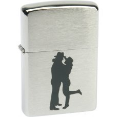 Зажигалка ZIPPO Cowboy Couple, с покрытием Brushed Chrome, латунь/сталь, серебристая, 36x12x56 мм 200 Cowboy Couple