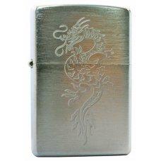 Зажигалка ZIPPO Dragon, с покрытием Brushed Chrome, латунь/сталь, серебристая, матовая, 36x12x56 мм 200 Dragon1