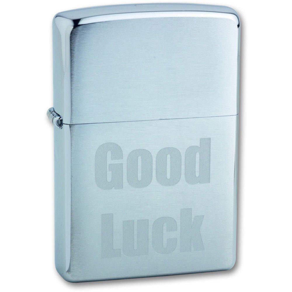 Зажигалка ZIPPO Good Luck, с покрытием Brushed Chrome, латунь/сталь, серебристая, матовая, 36x12x56 200 Good Luck