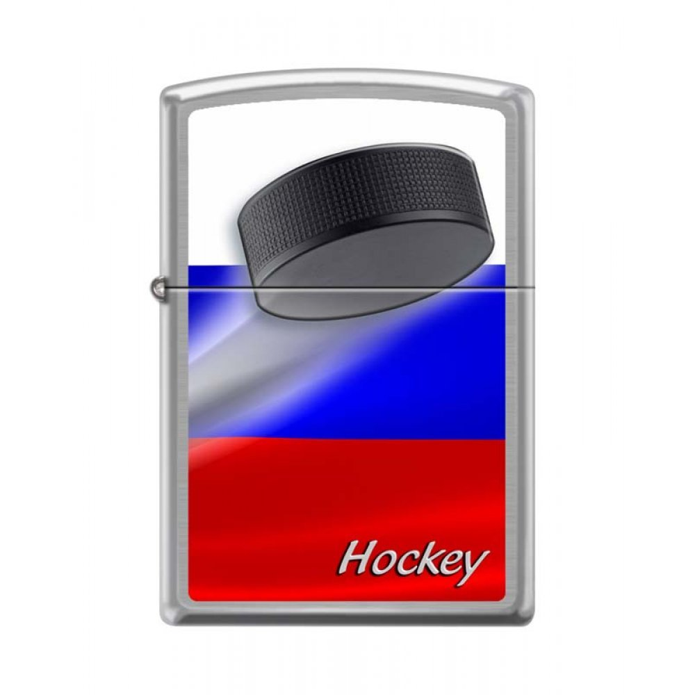 Зажигалка ZIPPO Российский хоккей, с покрытием Brushed Chrome, латунь/сталь, серебристая, 36x12x56мм 200 RUSSIAN HOCKEY PUCK