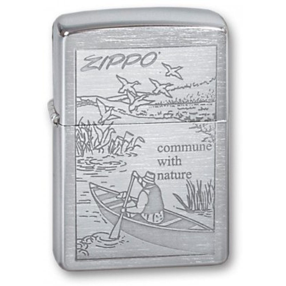 Зажигалка ZIPPO Row Boat, с покрытием Brushed Chrome, латунь/сталь, серебристая, 36x12x56 мм 200 Row Boat
