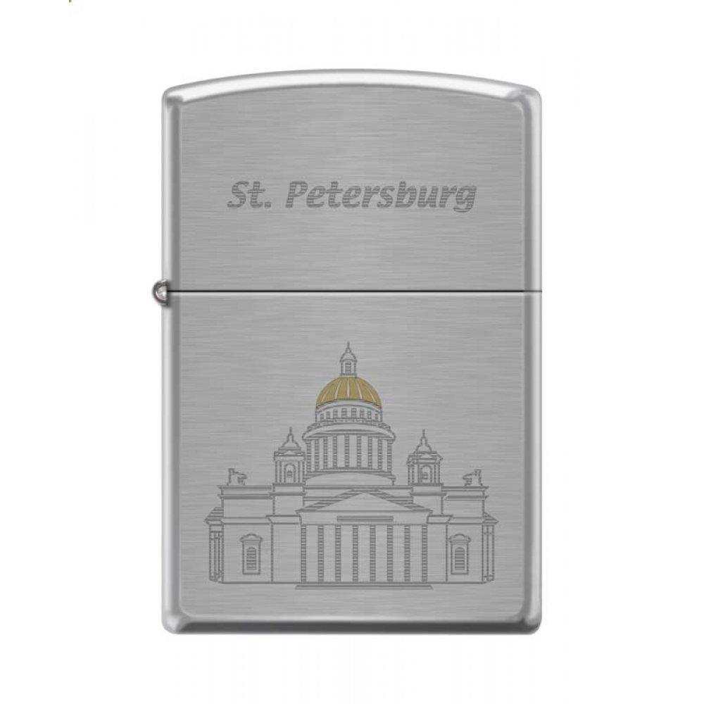 Зажигалка ZIPPO Исакиевский собор, с покрытием Brushed Chrome, латунь/сталь, серебристая, 36x12x56мм 200 ST ISSACS
