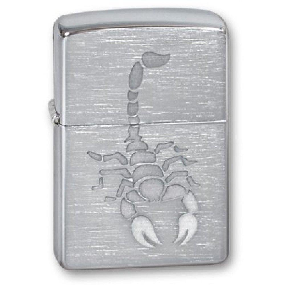 Зажигалка ZIPPO Scorpion, с покрытием Brushed Chrome, латунь/сталь, серебристая, 36x12x56 мм 200 Scorpion