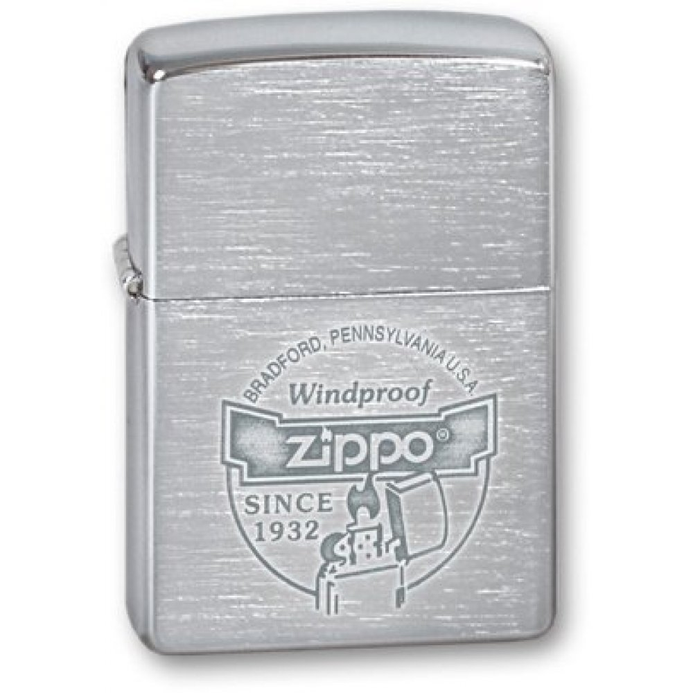 Зажигалка ZIPPO Since 1932, с покрытием Brushed Chrome, латунь/сталь, серебристая, 36x12x56 мм 200 Since 1932