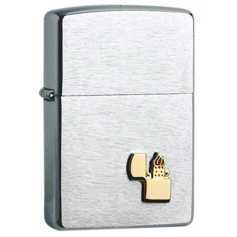 Зажигалка ZIPPO, с покрытием Brushed Chrome, латунь/сталь, серебристая, матовая, 36x12x56 мм 200 ZIPPO LIGHTER EMBLEM