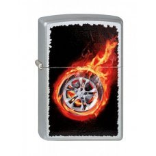 Зажигалка ZIPPO Tire On Fire, с покрытием Satin Chrome™, латунь/сталь, серебристая, 36x12x56 мм 205 Tire On Fire