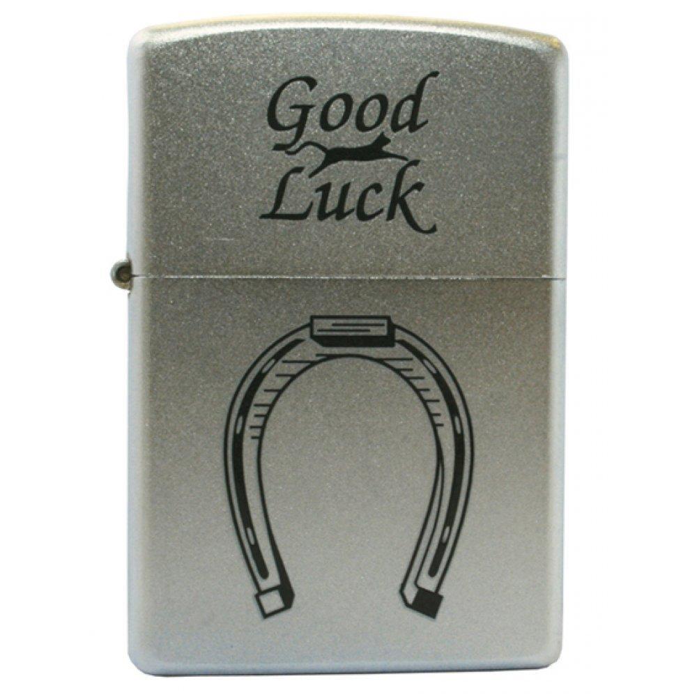 Зажигалка ZIPPO Horse Shoe, с покрытием Satin Chrome™, латунь/сталь, серебристая, 36x12x56 мм 205 Horse Shoe