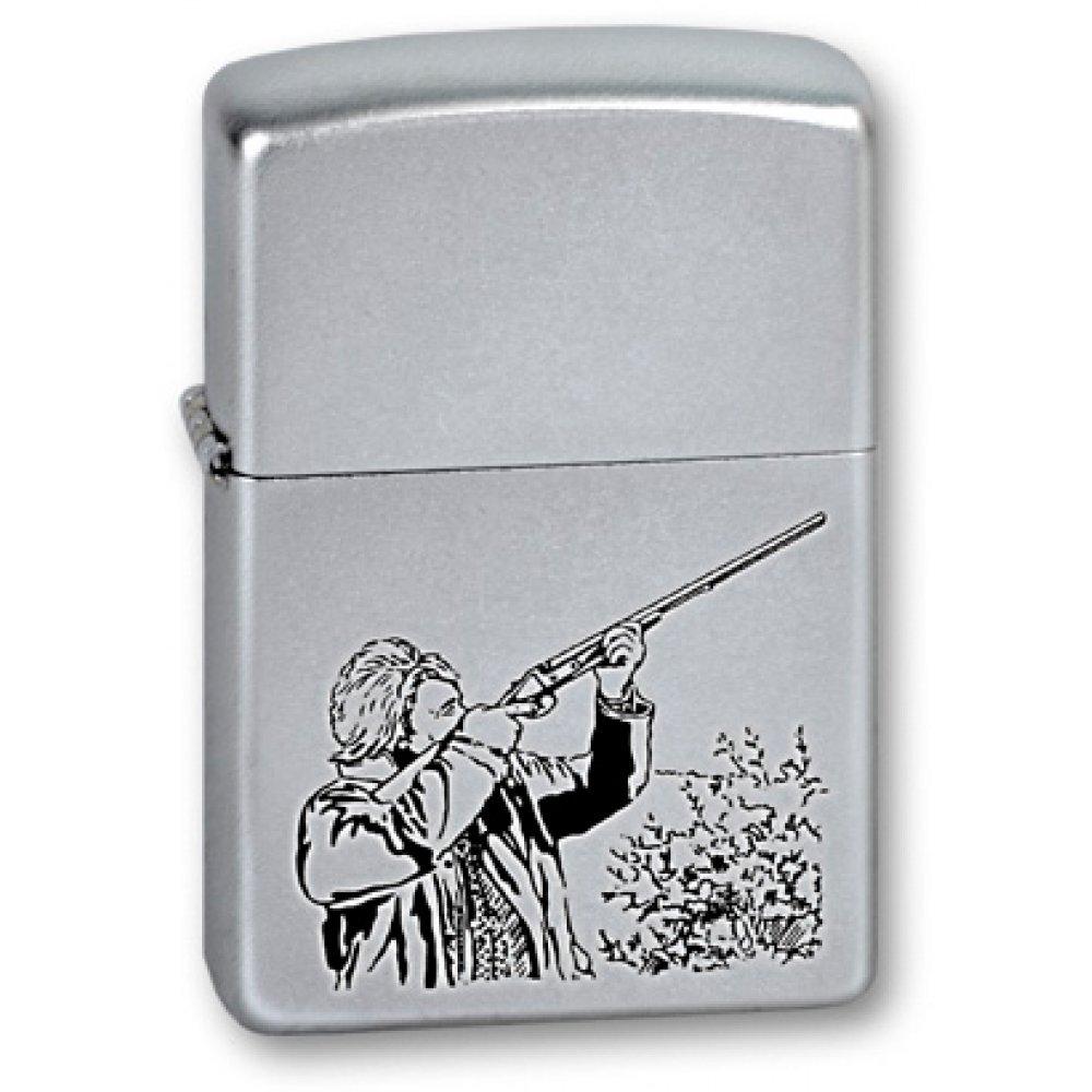 Зажигалка ZIPPO Hunter, с покрытием Satin Chrome™, латунь/сталь, серебристая, матовая, 36x12x56 мм 205 Hunter