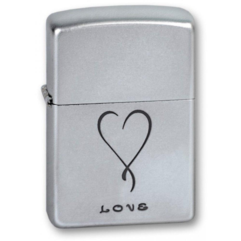 Зажигалка ZIPPO Love, с покрытием Satin Chrome™, латунь/сталь, серебристая, матовая, 36x12x56 мм 205 LOVE