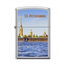 Зажигалка ZIPPO Петропавловская крепость, с покрытием Satin Chrome™, латунь/сталь, 36x12x56 мм 205 PETER PAUL