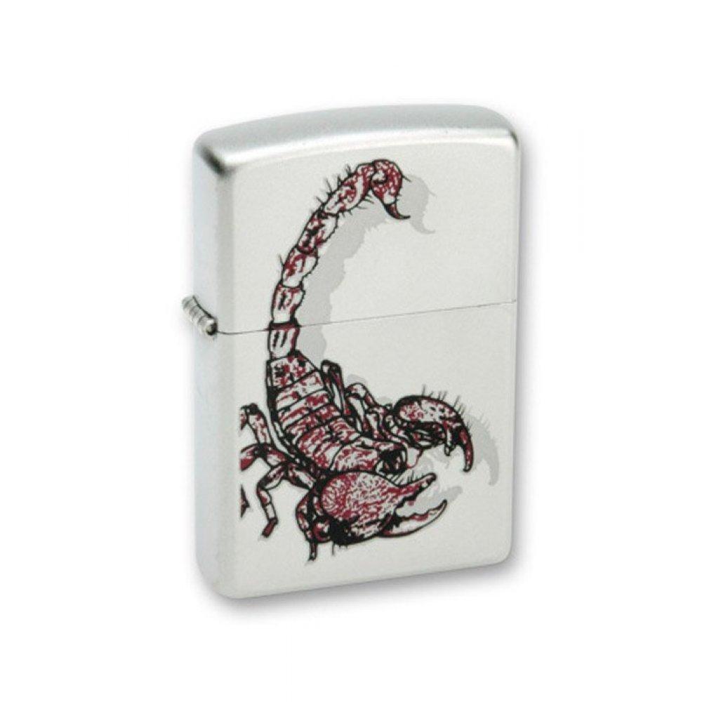 Зажигалка ZIPPO Scorpion Color, с покрытием Satin Chrome™, латунь/сталь, серебристая, 36x12x56 мм 205 Scorpion Color