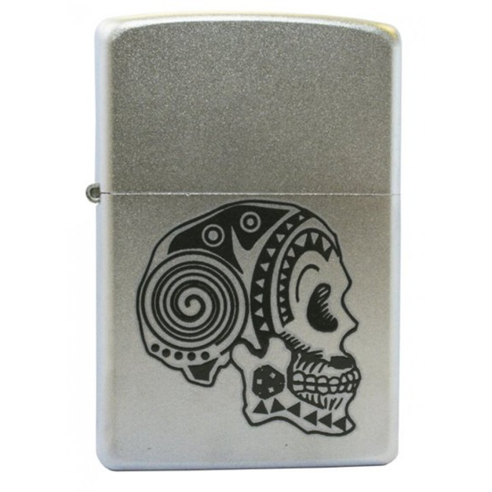 Зажигалка ZIPPO Tattoo Skull, с покрытием Satin Chrome™, латунь/сталь, серебристая, матовая, 36x12x5 205 Tattoo Skull