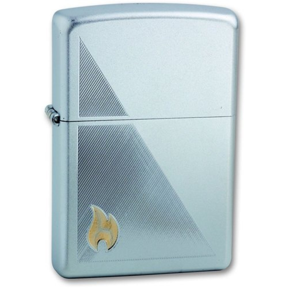 Зажигалка ZIPPO Zippo Flame, с покрытием Satin Chrome™, латунь/сталь, серебристая, 36x12x56 мм 205 Zippo Flame