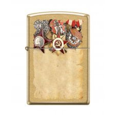 Зажигалка ZIPPO Советские ордена, с покрытием Gold Dust™, латунь/сталь, золотистая, 36x12x56 мм 207G RUSSIAN MEDALS