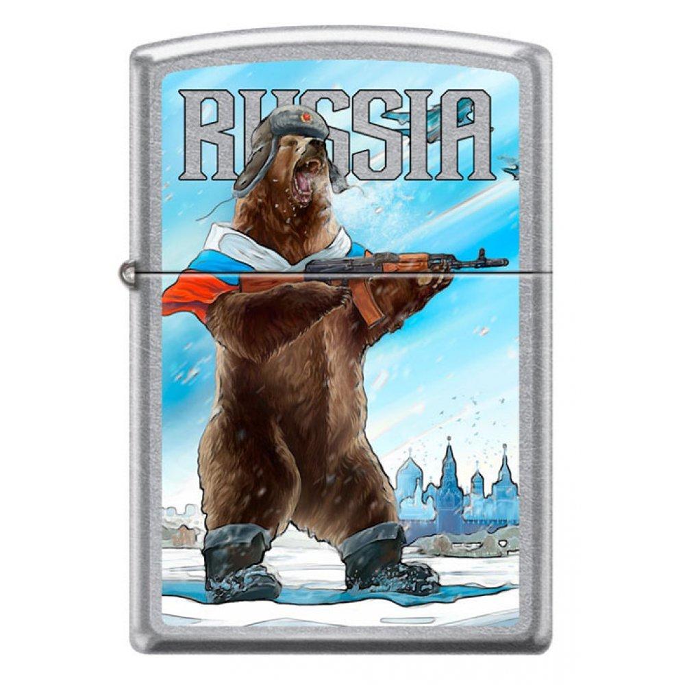 Зажигалка ZIPPO Русский медведь с покрытием Street Chrome™, латунь/сталь, серебристая, 36x12x56 мм 207 RUSSIAN BEAR