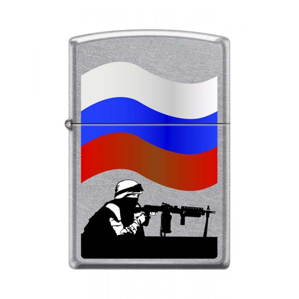 Зажигалка ZIPPO Защитник Отечества, с покрытием Street Chrome™, латунь/сталь, 36x12x56 мм 207 RUSSIAN SOLDIER