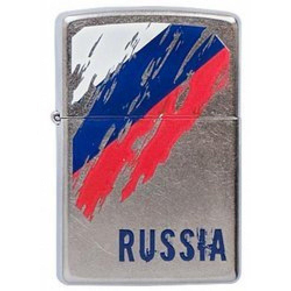 Зажигалка ZIPPO Russia Flag, с покрытием Street Chrome™, латунь/сталь, серебристая, 36x12x56 мм 207 Russia Flag