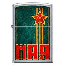 Зажигалка ZIPPO 9 мая с покрытием Street Chrome™, латунь/сталь, серебристая, матовая, 36x12x56 мм 207 VICTORY DAY