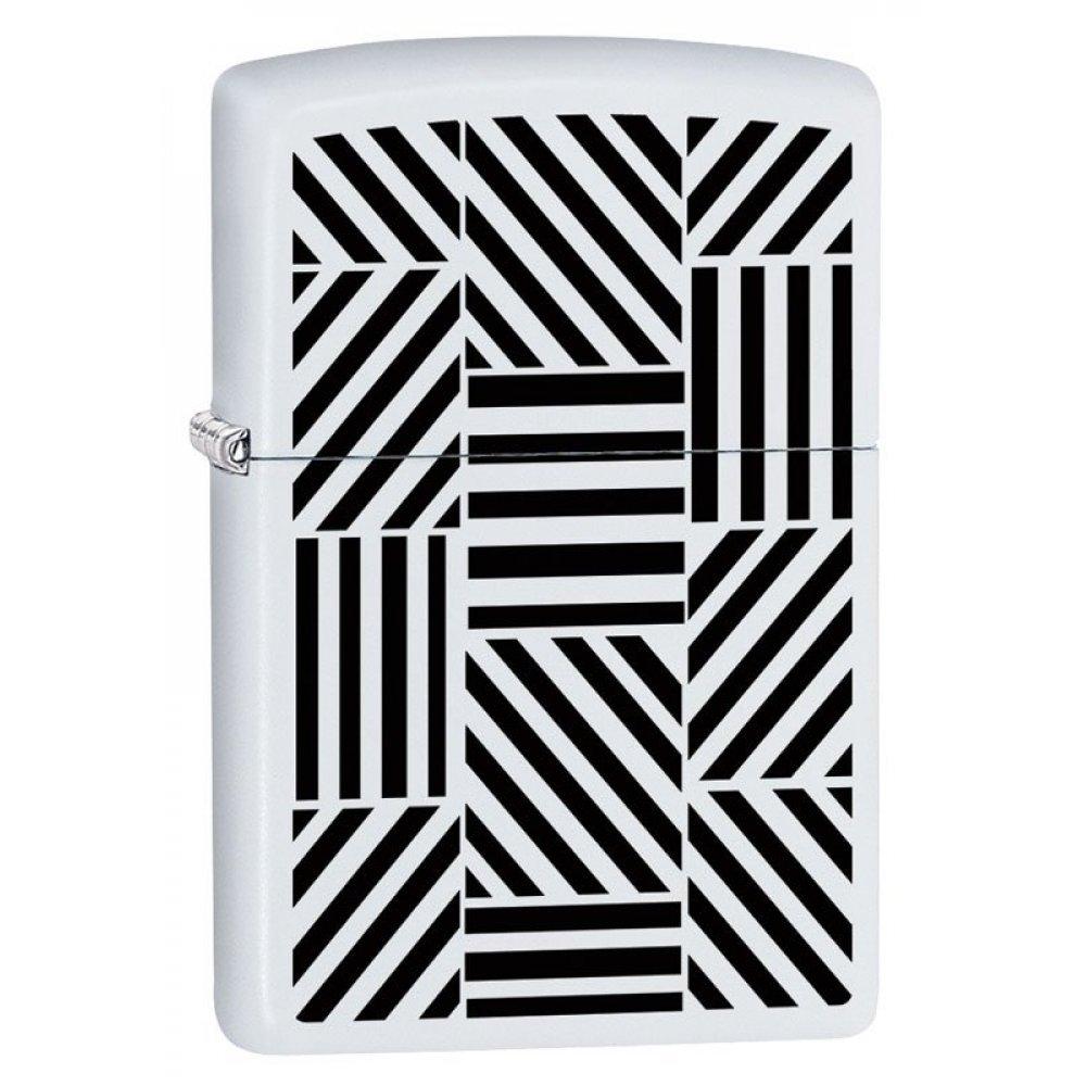 Зажигалка ZIPPO 214 Abstract с покрытием White Matte, латунь/сталь, белая, матовая, 36x12x56 мм 214 Abstract