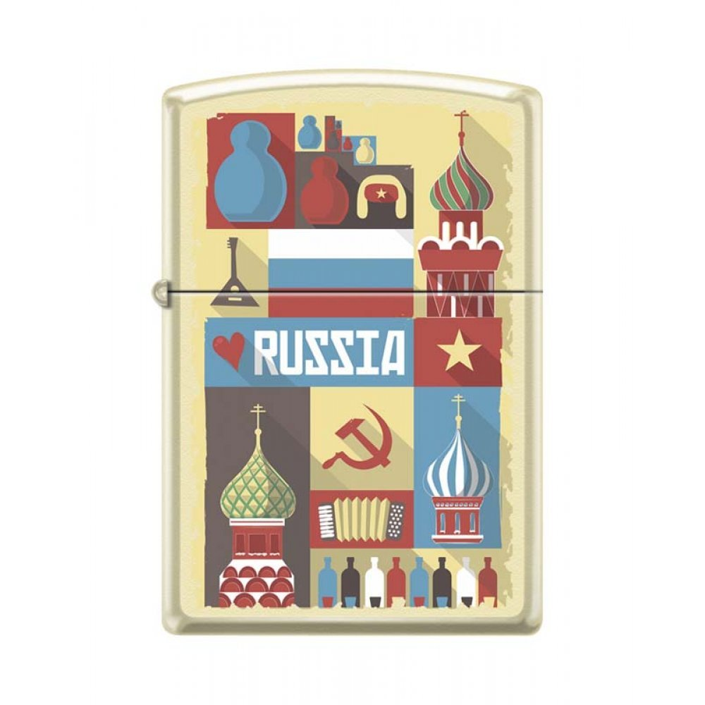 Зажигалка ZIPPO Открытка из России, с покрытием Cream Matte, латунь/сталь, кремовая, 36x12x56 мм 216 RUSSIAN POSTCARD