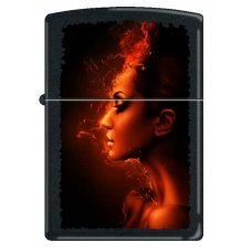 Зажигалка ZIPPO Девушка-огонь, с покрытием Black Matte, латунь/сталь, чёрная, матовая, 36x12x56 мм 218 BURNING WOMAN