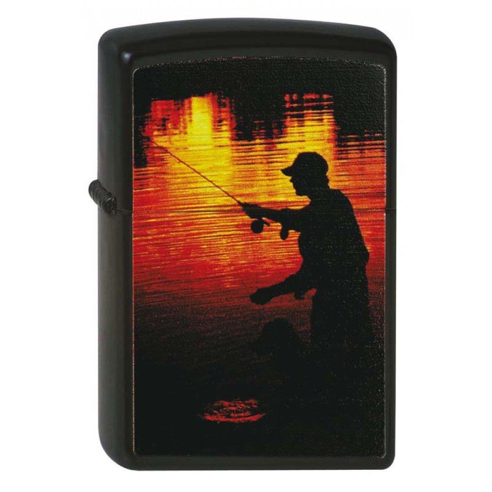 Зажигалка ZIPPO Рыбак, с покрытием Black Matte, латунь/сталь, чёрная, матовая, 36x12x56 мм 218 FISHERMAN
