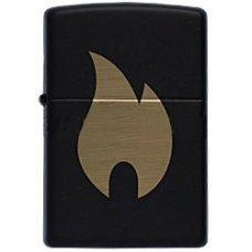 Зажигалка ZIPPO Flame с покрытием Black Matte, латунь/сталь, чёрная, матовая, 36x12x56 мм 218 Flame chromed
