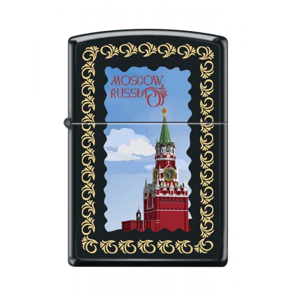 Зажигалка ZIPPO Московский кремль, с покрытием Black Matte, латунь/сталь, чёрная, 36x12x56 мм 218 MOSCOW KREMLIN FRAMED