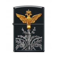 Зажигалка ZIPPO Двуглавый орёл, с покрытием Black Matte, латунь/сталь, чёрная, матовая, 36x12x56 мм 218 RUSSIAN COAT OF ARMS