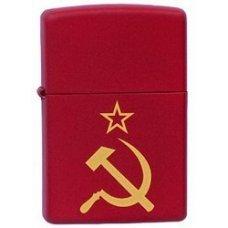 Зажигалка ZIPPO Серп и Молот, с покрытием Red Matte, латунь/сталь, красная, матовая, 36x12x56 мм 233 Серп и Молот