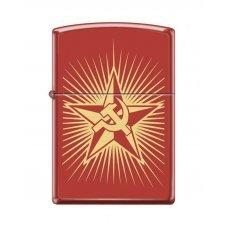 Зажигалка ZIPPO Серп и Молот и Звезда, с покрытием Red Matte, латунь/сталь, красная, 36x12x56 мм 233 RUSSIAN HAMMER SICKLE
