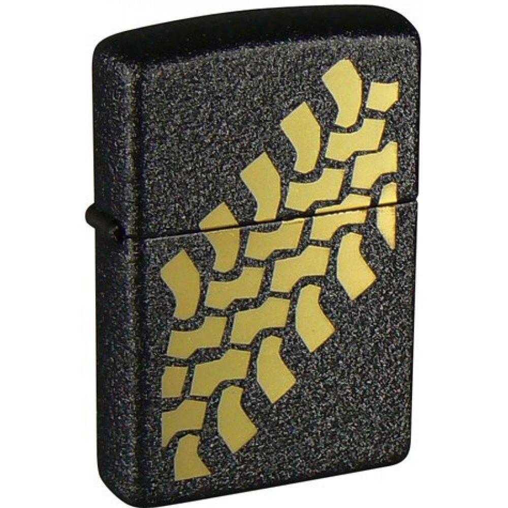 Зажигалка ZIPPO Tire Tracks с покрытием Black Crackle™, латунь/сталь, чёрная, матовая, 36x12x56 мм 236 Tire Tracks