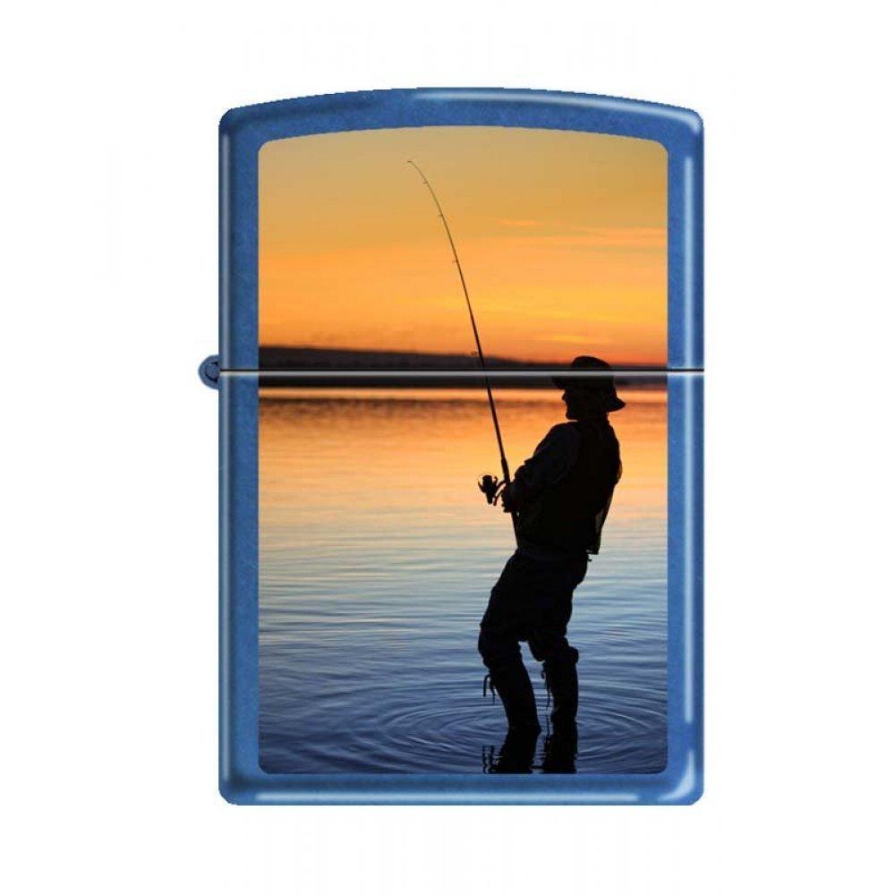 Зажигалка ZIPPO Вечерняя рыбалка, с покрытием Cerulean™, латунь/сталь, синяя, глянцевая, 36x12x56 мм 24534 FISHERMAN