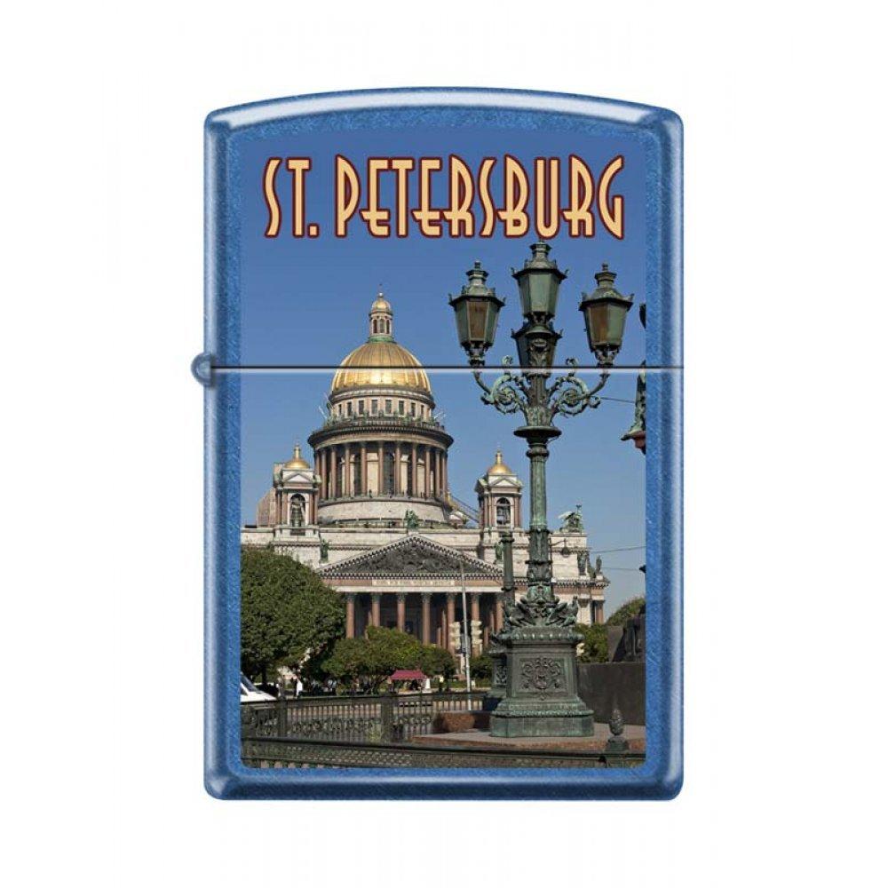 Зажигалка ZIPPO Исакиевский собор, с покрытием Cerulean™, латунь/сталь, синяя, 36x12x56 мм 24534 ST ISSACS