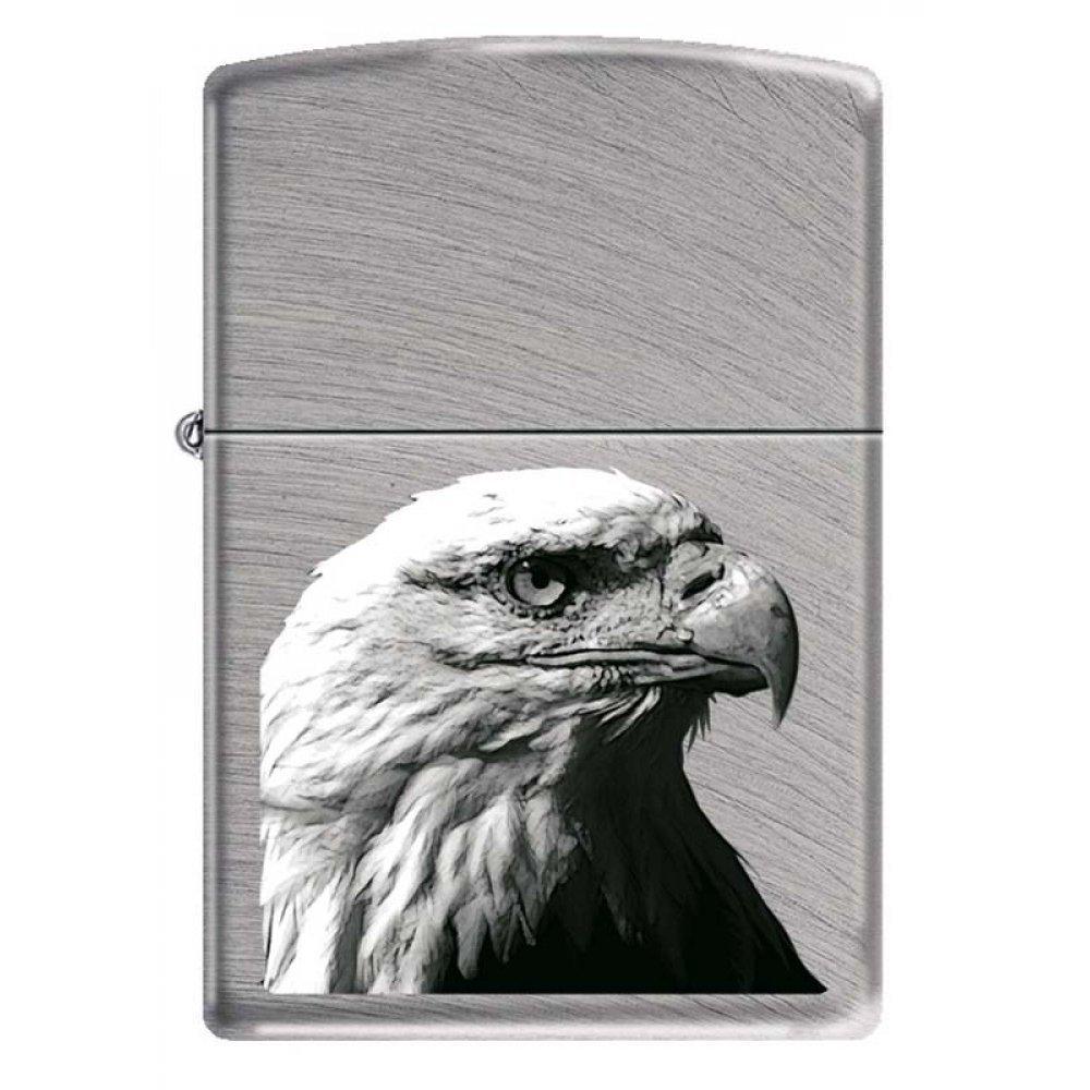 Зажигалка ZIPPO Орёл, с покрытием Chrome Arch, латунь/сталь, серебристая, матовая, 36x12x56 мм 24647 EAGLE HEAD