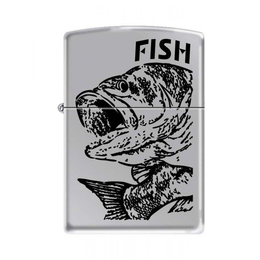 Зажигалка ZIPPO Чёрный окунь, латунь/сталь с покрытием High Polish Chrome, серебристая, 36x12x56 мм 250 FISH - BIG MOUTH