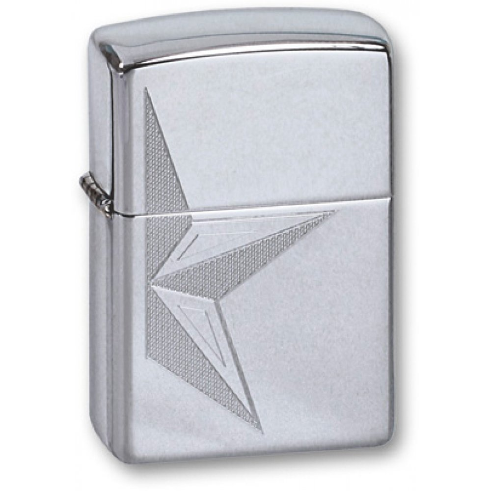 Зажигалка ZIPPO Classic с покрытием High Polish Chrome, латунь/сталь, серебристая, 36x12x56 мм 250 HALF STAR