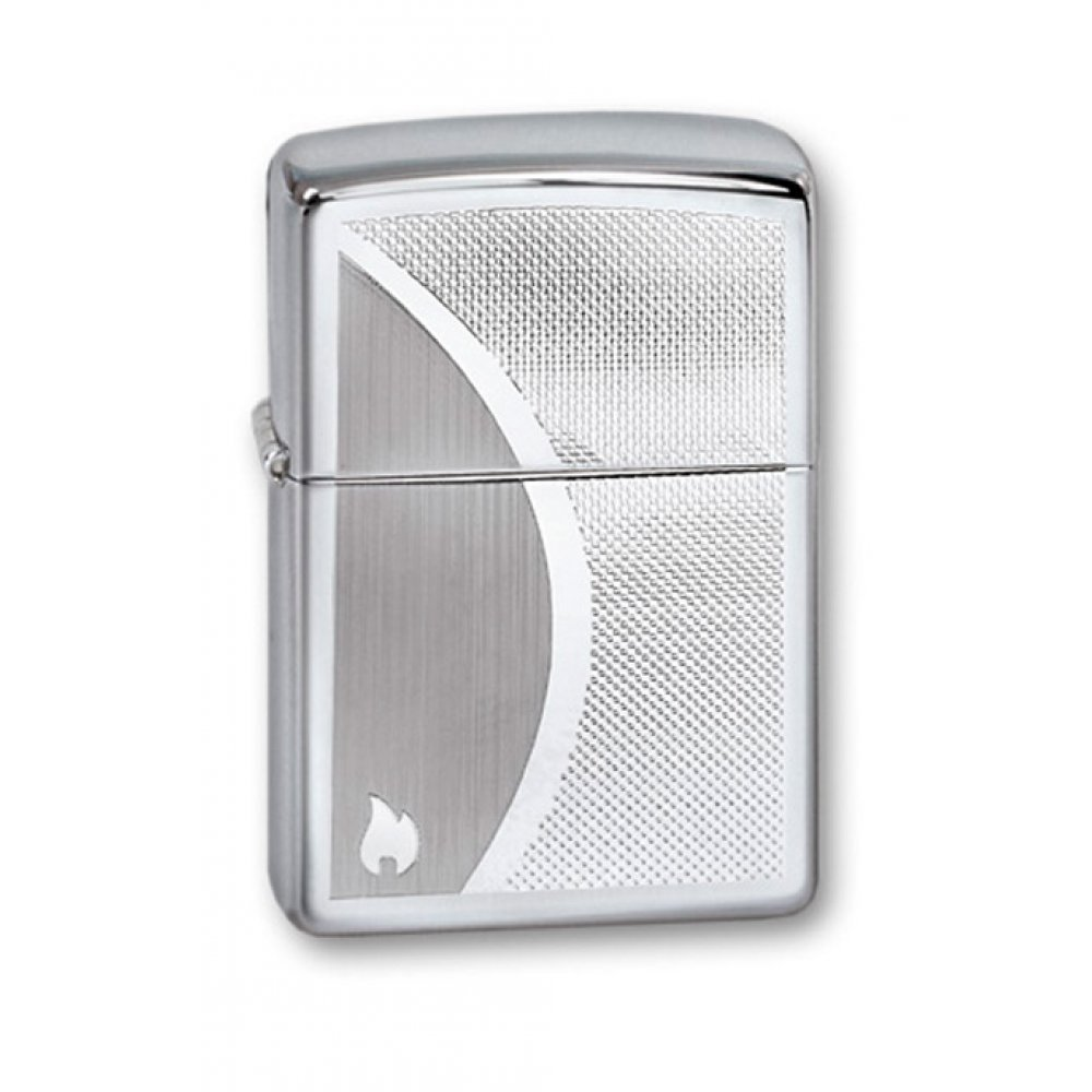 Зажигалка ZIPPO Classic с покрытием High Polish Chrome, латунь/сталь, серебристая, 36x12x56 мм 250 Shadow Gradiant