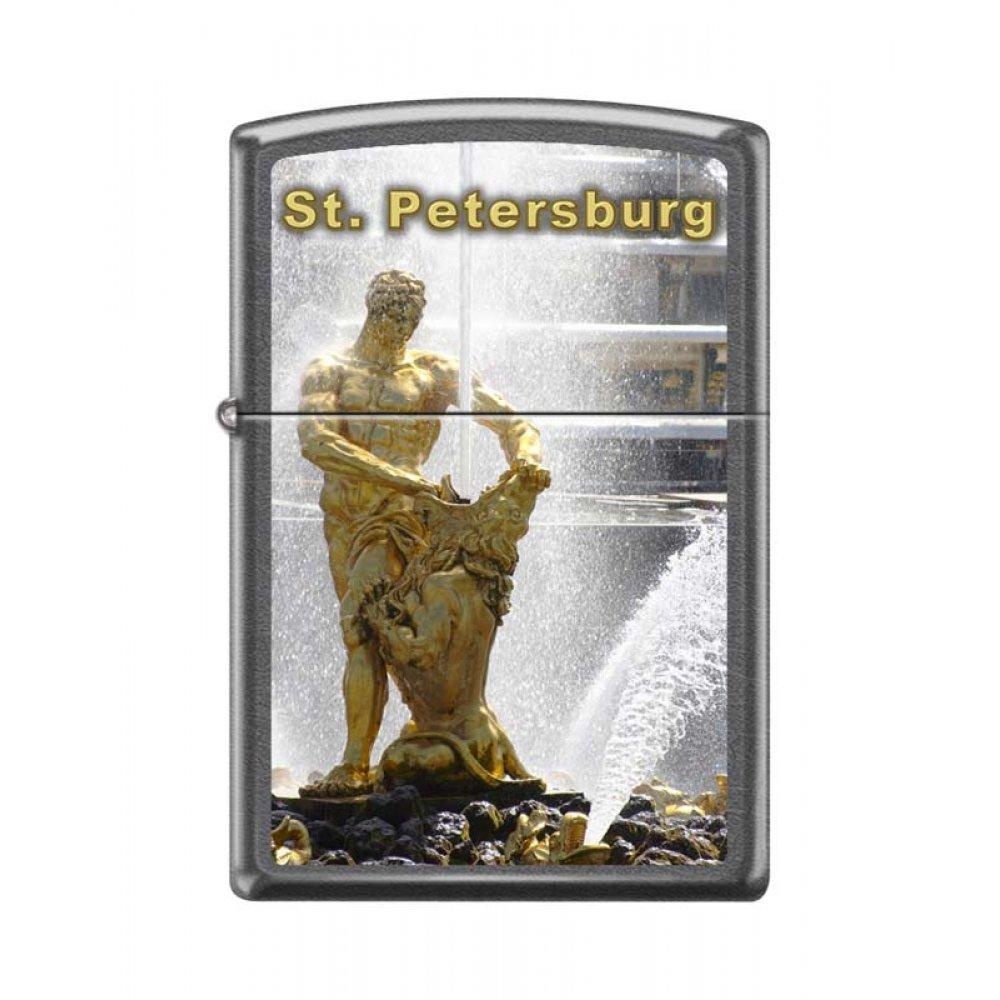 Зажигалка ZIPPO Петергоф с покрытием Gray Dusk , латунь/сталь, серая, матовая, 36x12x56 мм 28378 PETERHOF