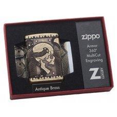 Зажигалка ZIPPO Armor™ с покрытием Antique Brass, латунь/сталь, медная, матовая, 37х13x58 мм 29268