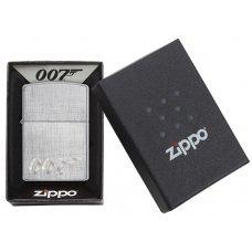 Зажигалка ZIPPO James Bond с покрытием Brushed Chrome, латунь/сталь, серебристая, 36x12x56 мм 29562