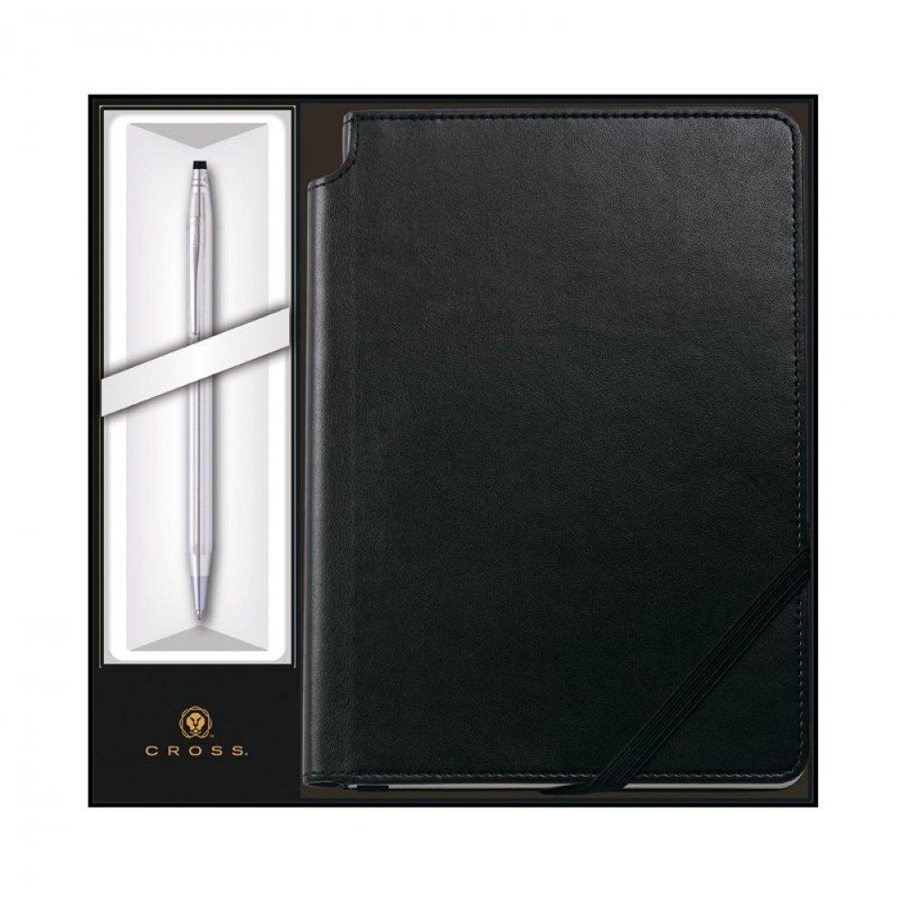 Набор: Шариковая ручка Cross Classic Century Chrome и Записная книжка Cross Journal Classic Black,A5 3502/1M