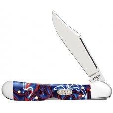 Нож ZIPPO Patriotic Kirinite Smooth Mini Copperlock, 92 мм, синий + ЗАЖИГАЛКА ZIPPO 207 50531_207