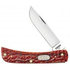 Нож ZIPPO Chestnut Bone Standard Jigged Sodbuster Jr, 92 мм, коричневый + ЗАЖИГАЛКА 207 50569_207