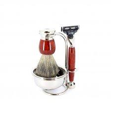Бритвенный набор S.Quire: станок, помазок, чаша подставка; красно-коричневый