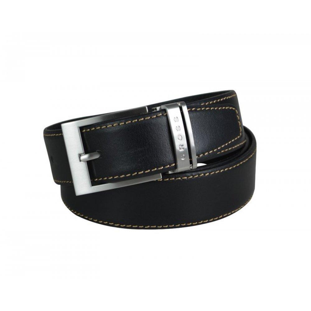 Ремень Cross Pamplona Black, односторонний, кожа гладкая, цвет чёрный с бежевой строчкой, 126 х 3.5 AC418149NF