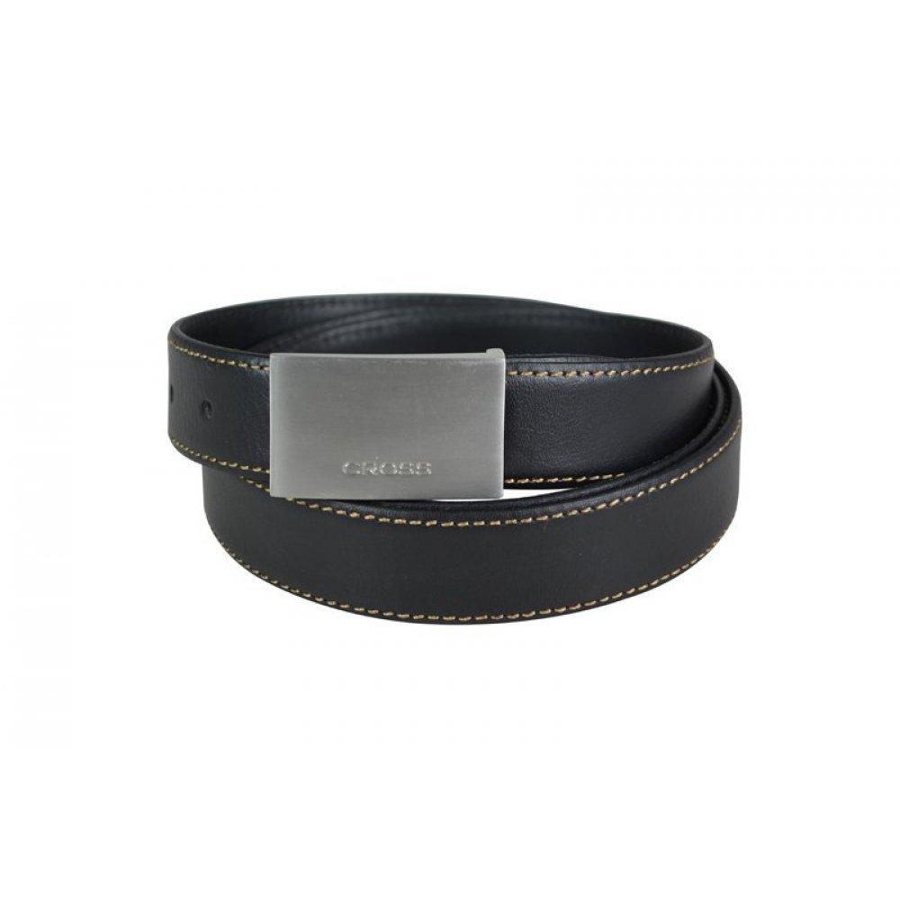 Ремень Cross Pamplona Black, односторонний, кожа гладкая, цвет чёрный с бежевой строчкой, 126 х 3 см AC418150NF
